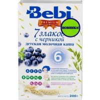 Фото Bebi Premium Каша молочная 7 злаков с черникой, 200 г
