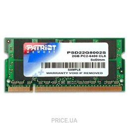 Фото Patriot 2GB SO-DIMM DDR2 800MHz (PSD22G8002S)