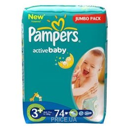 Подгузник Pampers Active Baby Midi Plus 3+ (74 шт.)