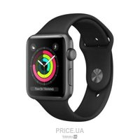 Фото Apple Watch Series 3 (GPS) 38mm Space Gray Aluminum w. Black Sport B. - Space Gray (MQKV2)