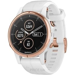 Garmin Fenix 5S Plus Sapphire, Rose Gold-tone with Carrara White Band (010-01987-07)