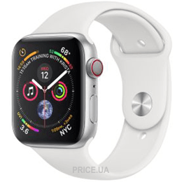 Apple Watch Series 4 (GPS + Cellular) 40mm Silver Aluminum Case with White Sport Band (MTUD2)