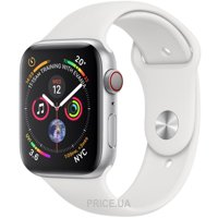 Фото Apple Watch Series 4 (GPS + Cellular) 44mm Silver Aluminum Case with White Sport Band (MTUU2)